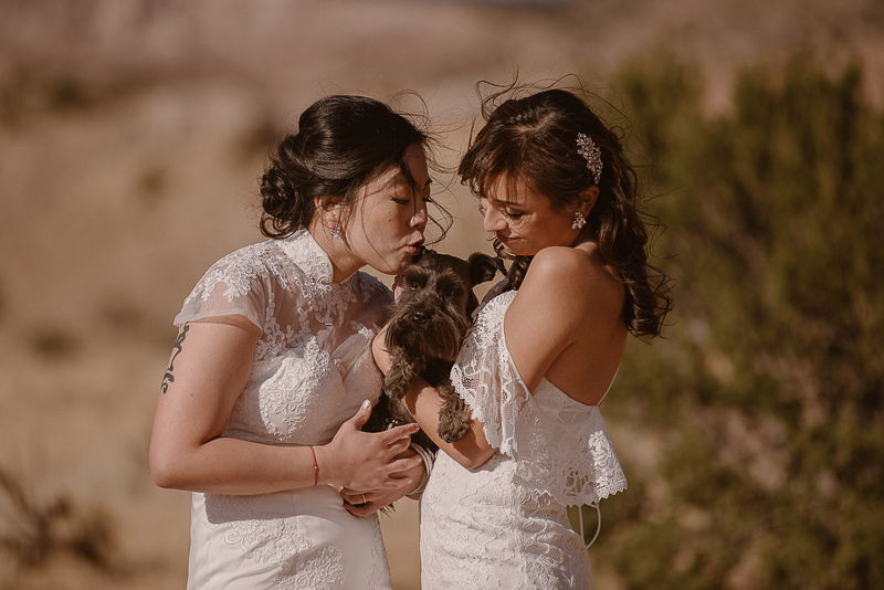 brides and their dog, © Adventure Instead dog-friendly elopement ideas, same sex wedding