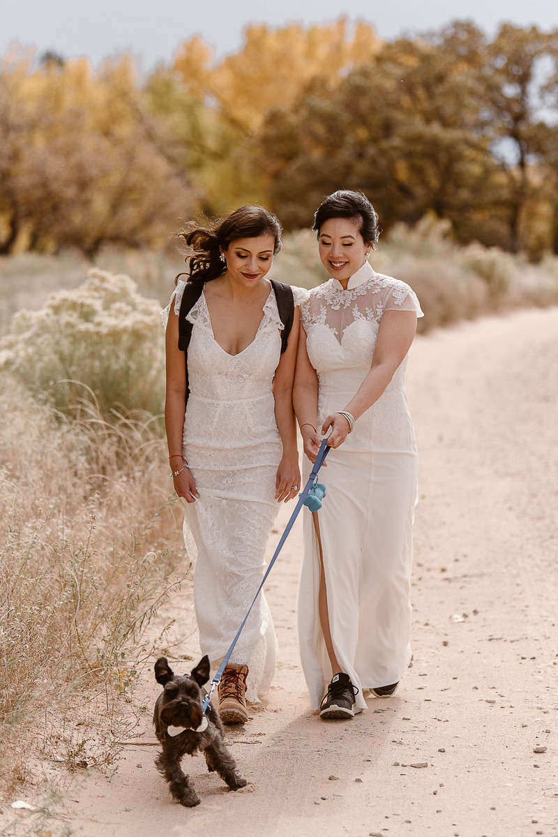 brides walking their dog on a trail, © Adventure Instead dog-friendly elopement photography, Abiquiú NM