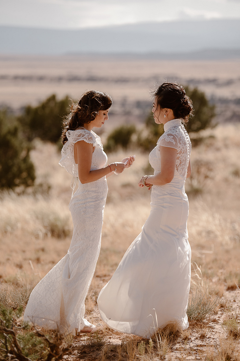 same sex wedding, romantic elopement | © Adventure Instead dog-friendly elopement photography, Abiquiú