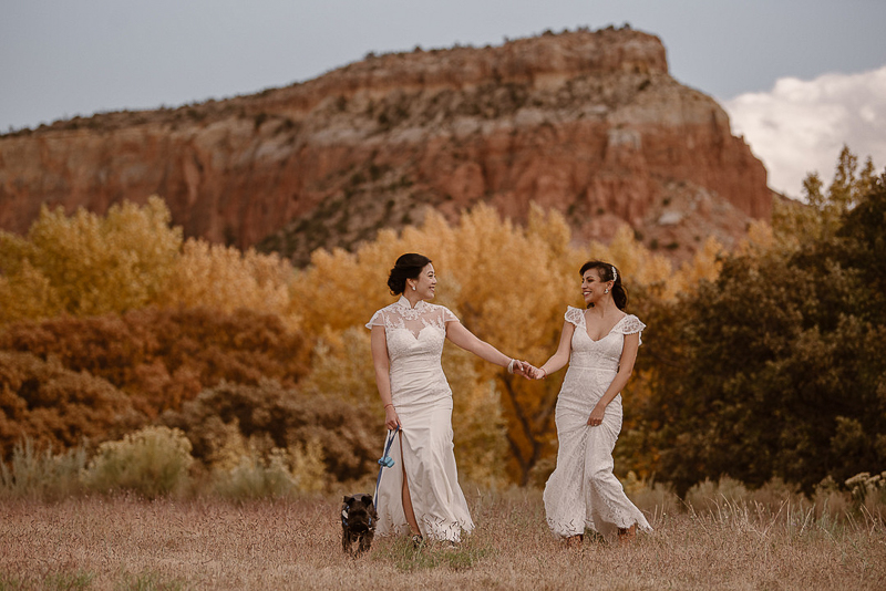 two brides and their dog, © Adventure Instead elopement photography, Abiquiú, NM