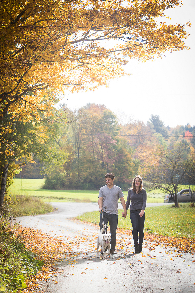 couple walking their dog while holding hands, Vermont fall engagement session, ©Cat Cutillo Photography