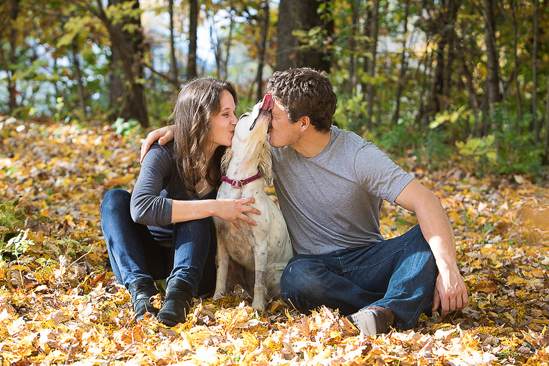 happy couple and their dog, autumn engagement photos ideas, ©Cat Cutillo Photography