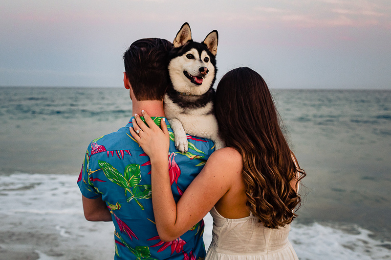 happy dog looking over humans' shoulders | ©Fabi Rosas Photography, dog-friendly beach engagement session Cabo, Mexico