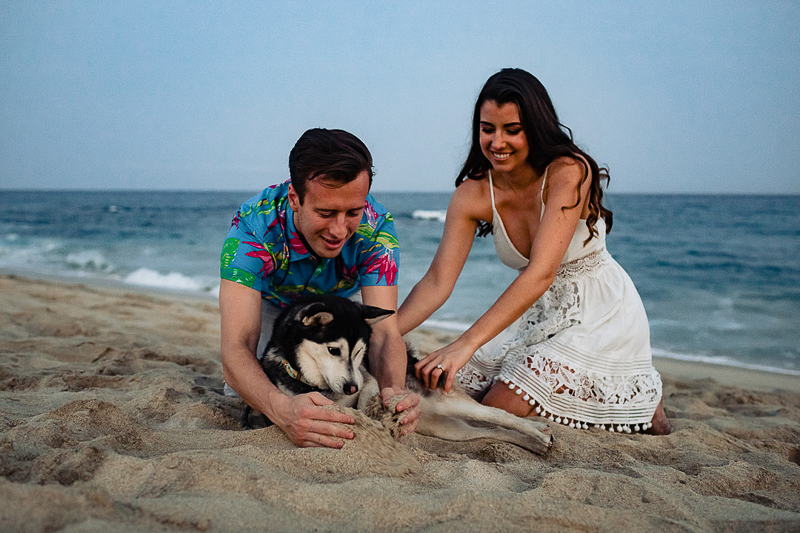 Alaskan Klee Kai and her humans on the beach, ©Fabi Rosas Photography, Cabo, Mexico