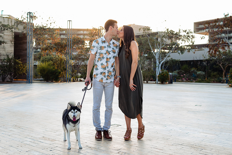 including a dog in engagement photos, Alaskan Klee Kai ©Fabi Rosas Photography, dog-friendly engagement session Cabo, Mexico
