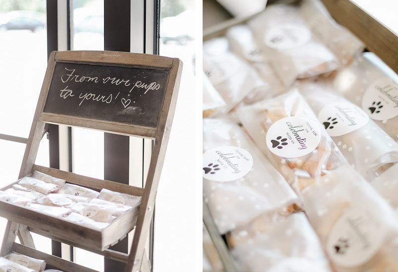 dog treat wedding favors, dog-friendly wedding ideas, Ava, Missouri | ©Shelby Chante' Photography