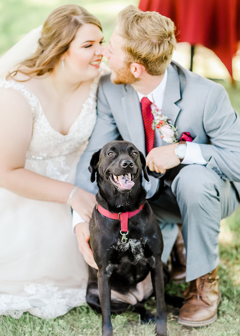 bride, groom and their Lab/Chow mix , dog-friendly wedding, Ava, Missouri | ©Shelby Chante' Photography