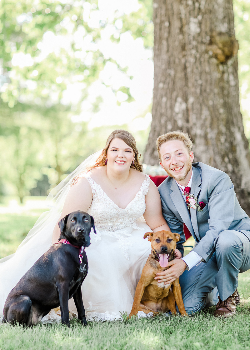 Just married couple and their two dogs, ©Shelby Chante' Photography
