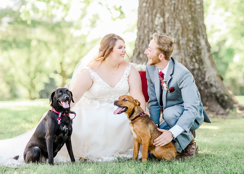 bride, groom and their dogs, dog-friendly wedding, Ava, Missouri | ©Shelby Chante' Photography