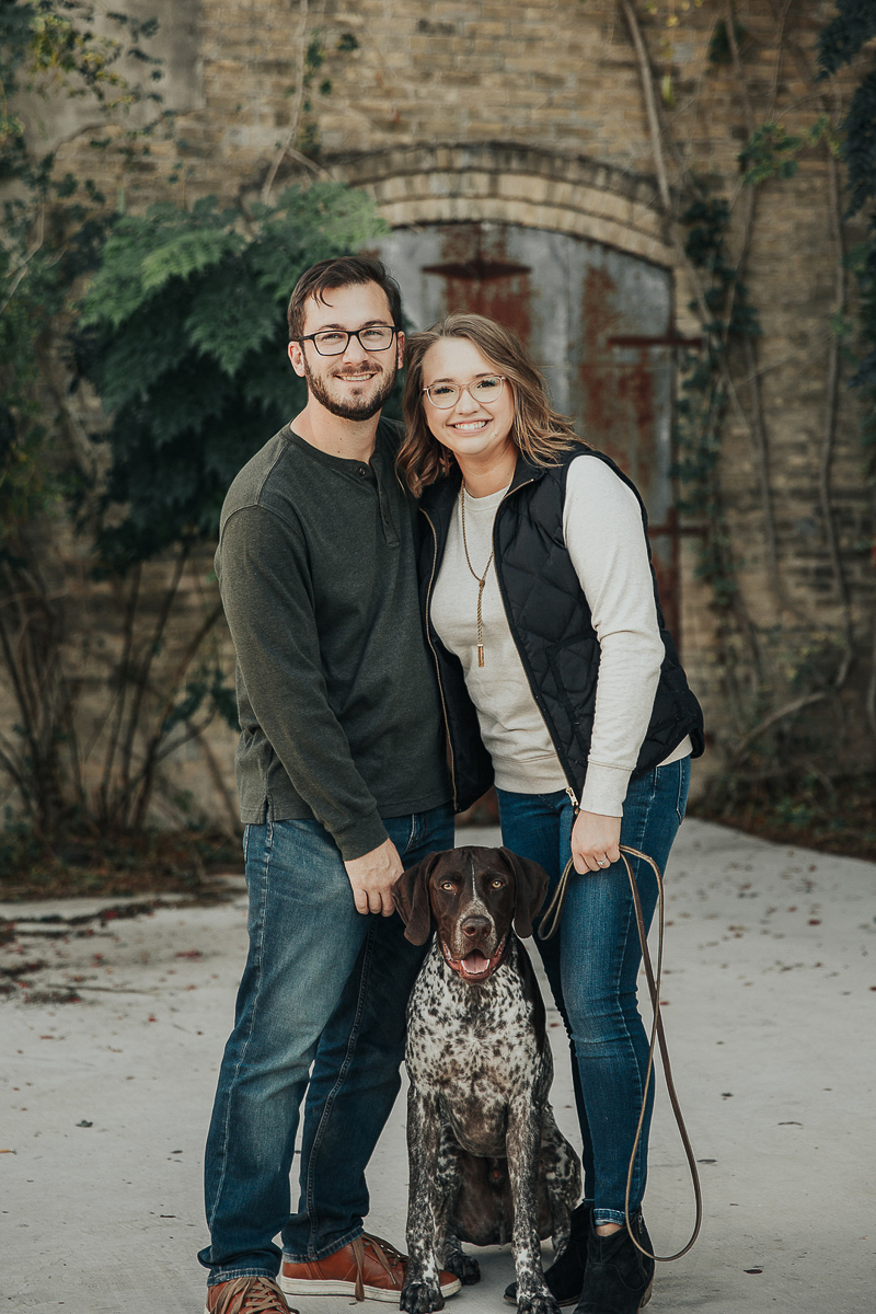 engaged couple and their German Shorthaired Pointer | ©Joshua and Parisa | Austin Wedding Photographer and Videographer