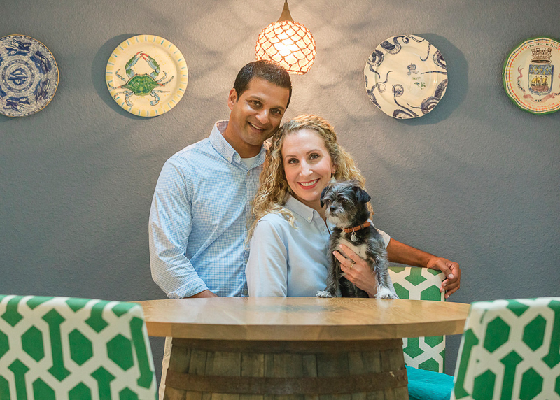 couple and their Shih-Tzu mix, dog-friendly in home session   ©Charleston Photo Art