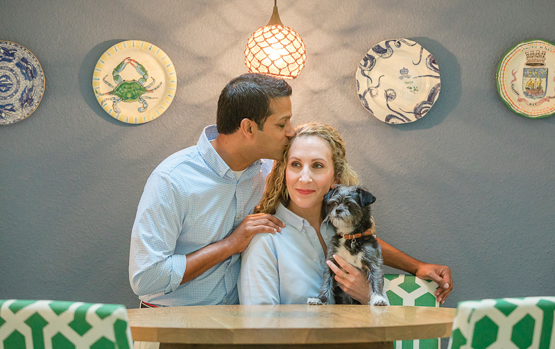 cute couple and their dog at home, lifestyle portrait ideas, ©Charleston Photo Art