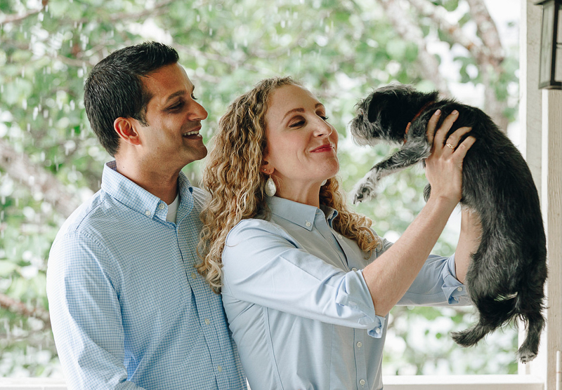 couple and their mixed breed dog, in home portrait session ideas, ©Charleston Photo Art