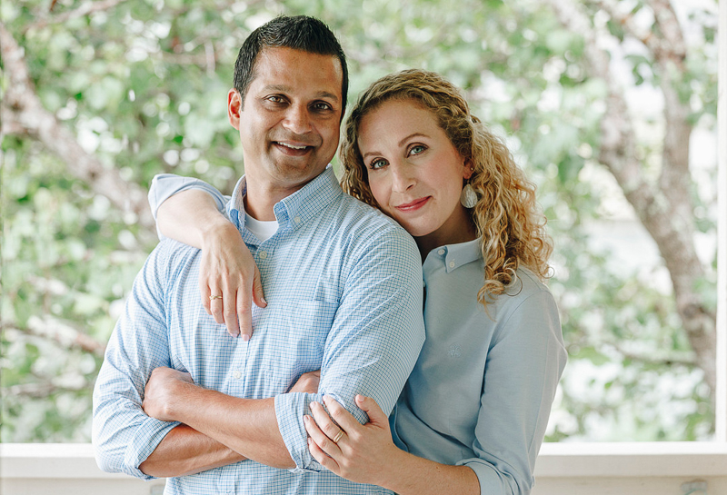 couple on their balcony, in home portrait session | ©Charleston Photo Art
