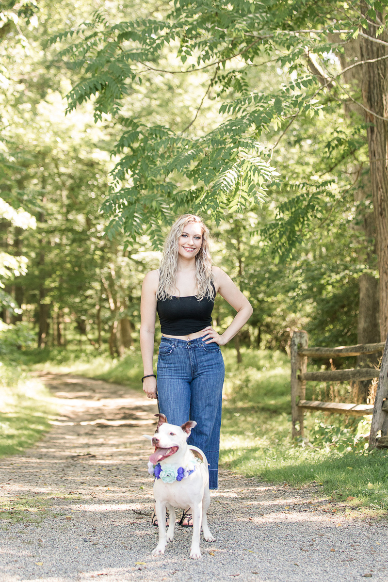 mixed breed dog and human on path, portrait ideas Allaire State Park, | ©Limelight Entertainment