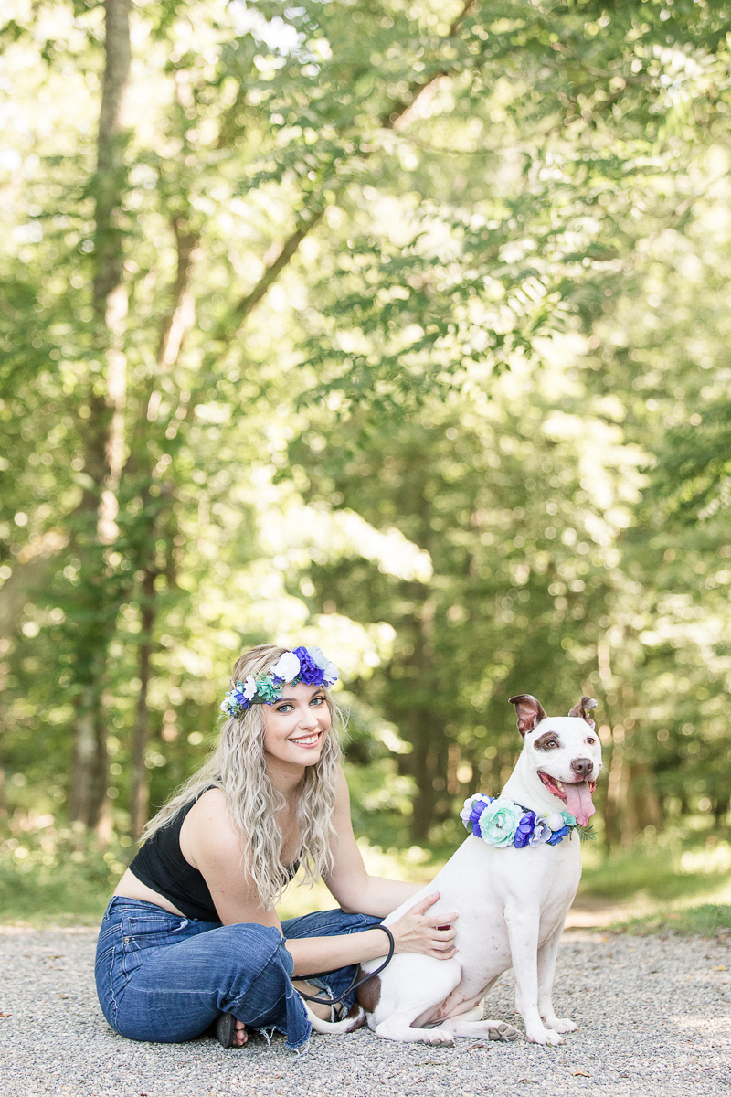 woman and Pittie mix wearing floral crowns, on location pets and people portraits, Allaire State Park, NJ | Limelight Entertainment