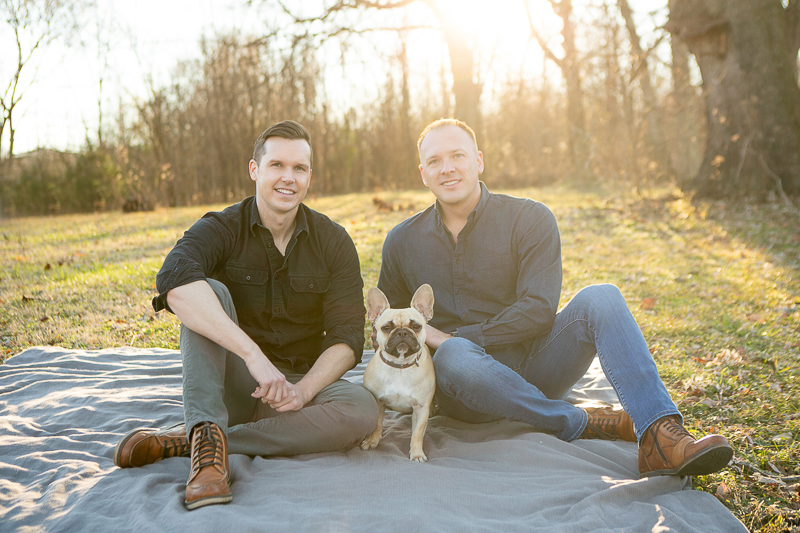 ideas for late fall pet portrait session, same sex couple and their Frenchie, ©Mandy Whitley Photography | Photography for Pets and Their People