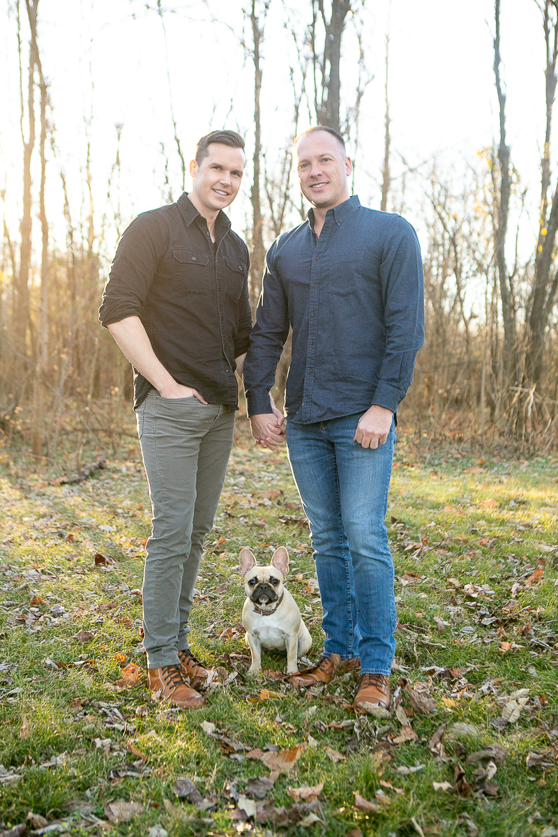 dog-friendly family photo session, two men holding hands and their Frenchie | Nashville Pet Photography ©Mandy Whitley Photography | Photography for Pets and Their People