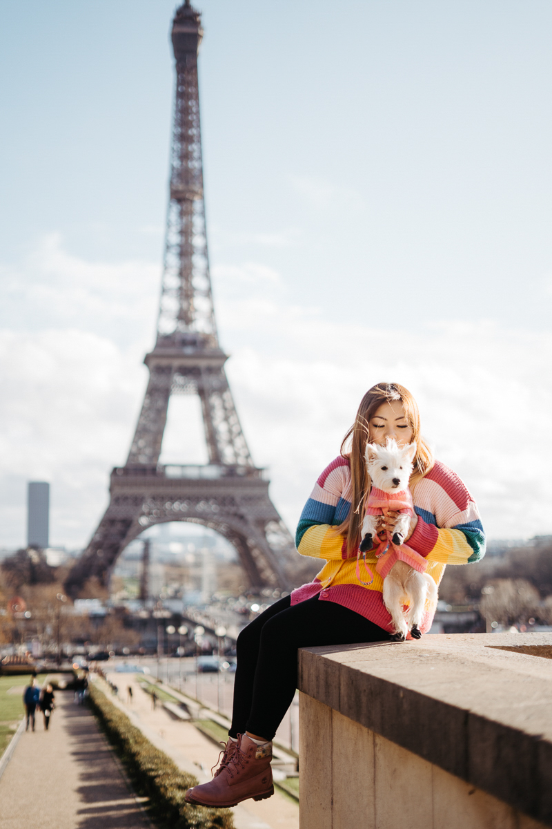 woman and her dog in front of Eiffel Tower | Février Photography | dog-friendly portrait ideas in Paris, France