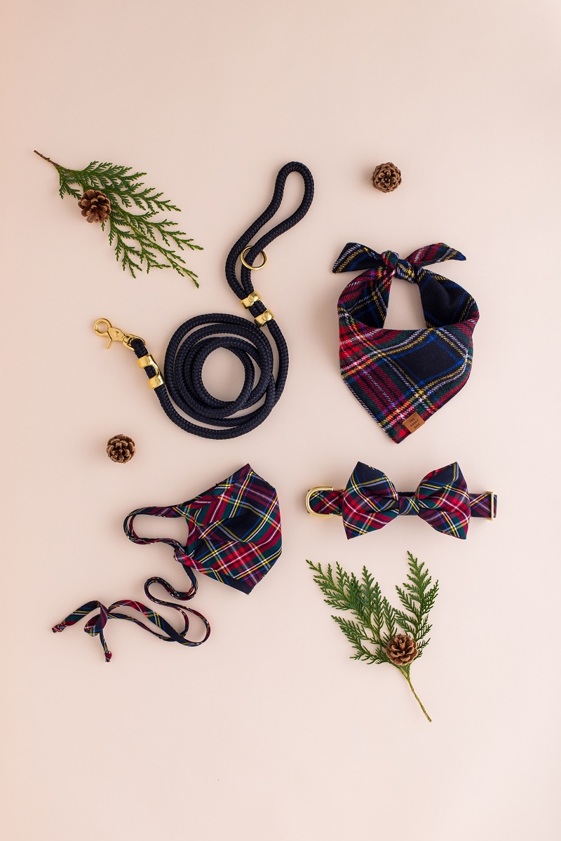 plaid bandana, collar, bow tie and matching leash, gifts for a girl and her dog