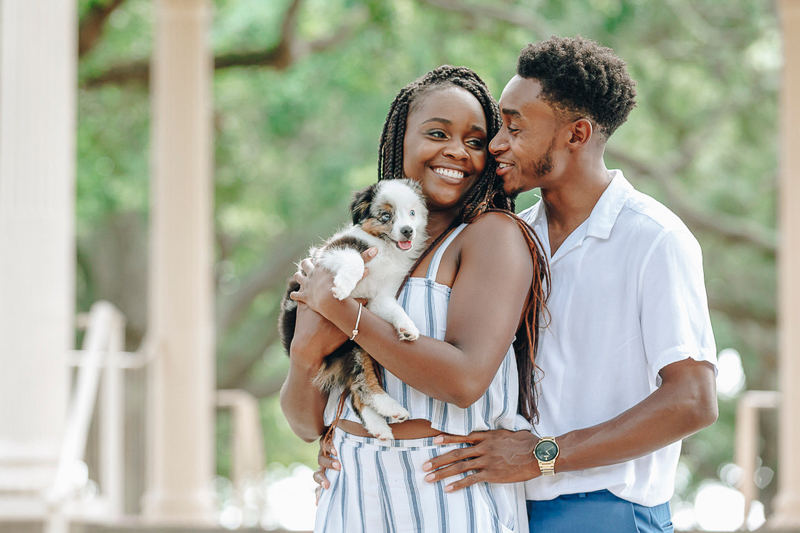 sweet and romantic photos of a couple and their pup ©Charleston Photo Art, LLC | dog-friendly engagement ideas