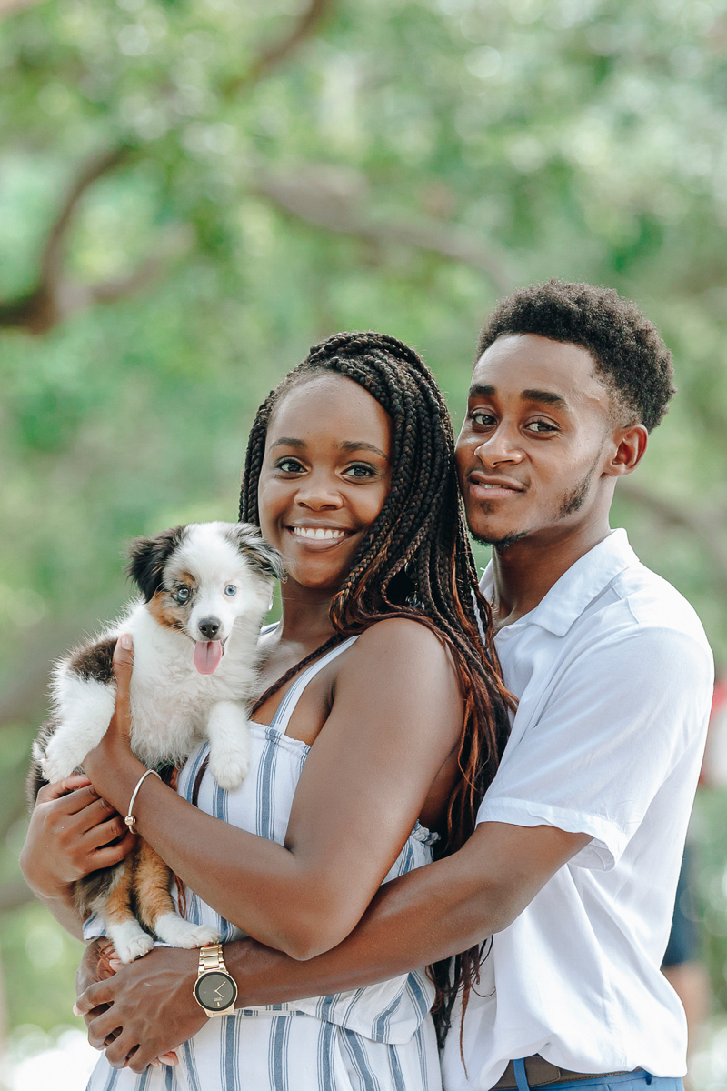 mini Australian Shepherd and couple, ©Charleston Photo Art, LLC | dog-friendly engagement ideas