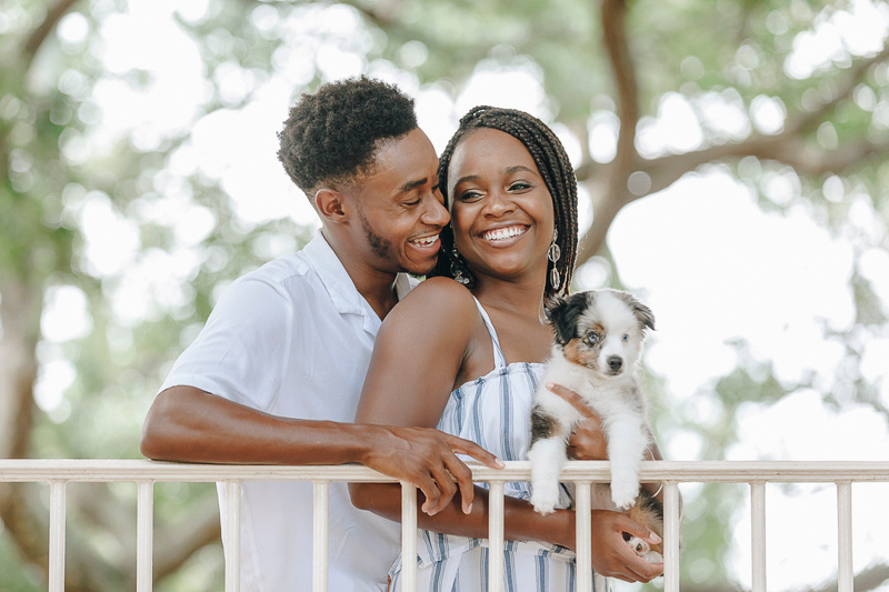 happy couple and their puppy, ©Charleston Photo Art, LLC | dog-friendly photography ideas