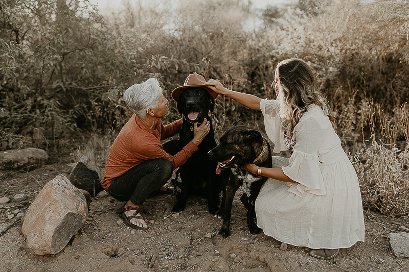 couple and their dogs, woman placing hat on a black lab, ©Kali M Photos | Arizona engagement photography