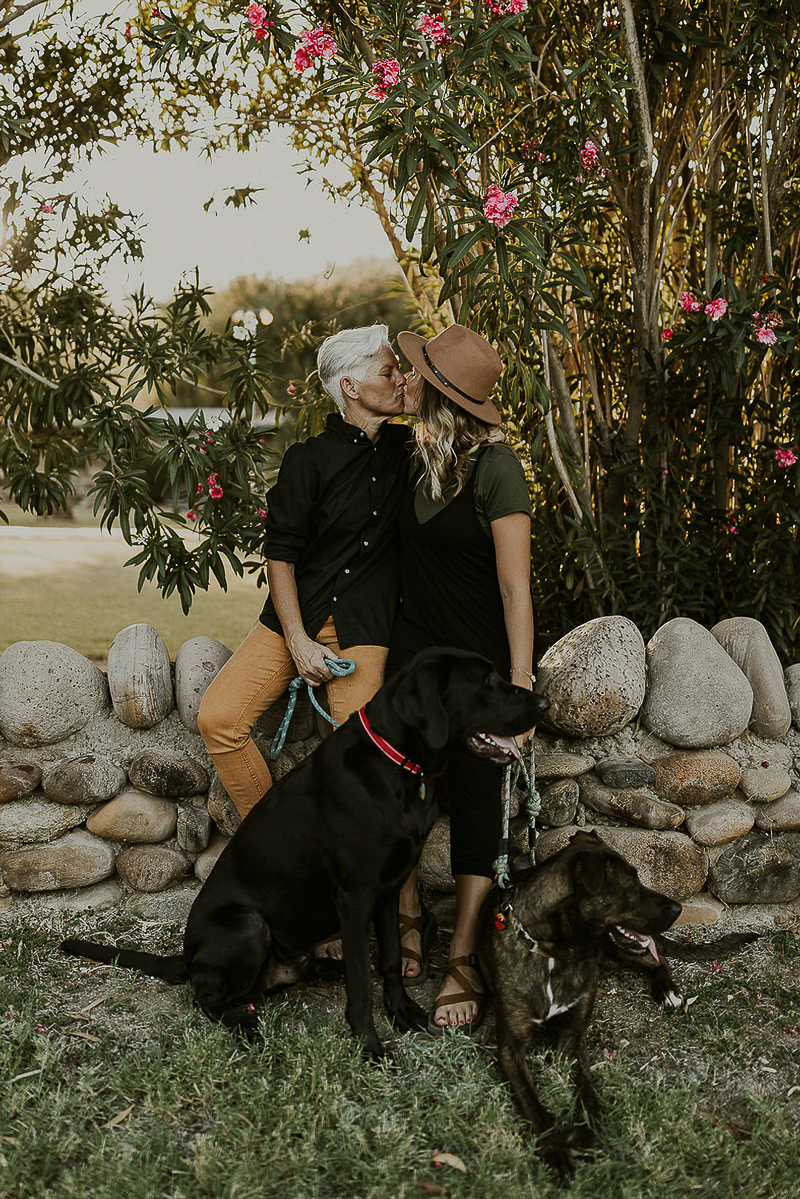 couple kissing, dogs at their feet, ©Kali M Photos | Arizona wedding and elopement photographer