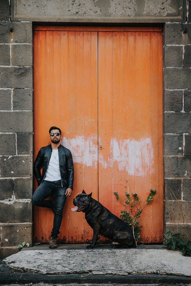 men's fashion photography with a dog, dog photoshoot inspiration | Cedric D Vincent Photography