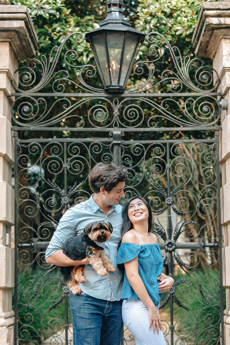 couple and their dog in front of metal gate, Legare St, Charleston Photo Art