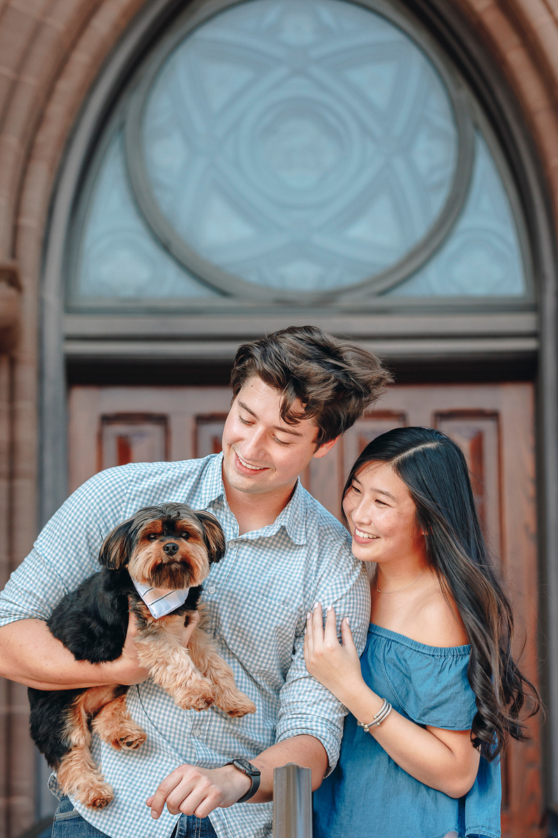 couple and their Yorkie, engagement photos, Legare St, Charleston, SC | ©Charleston Photo Art