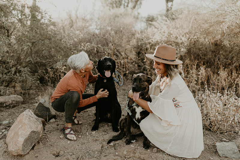 desert engagement photography ideas, including dogs in engagement photos | ©Kali M Photos | Arizona wedding and elopement photographer