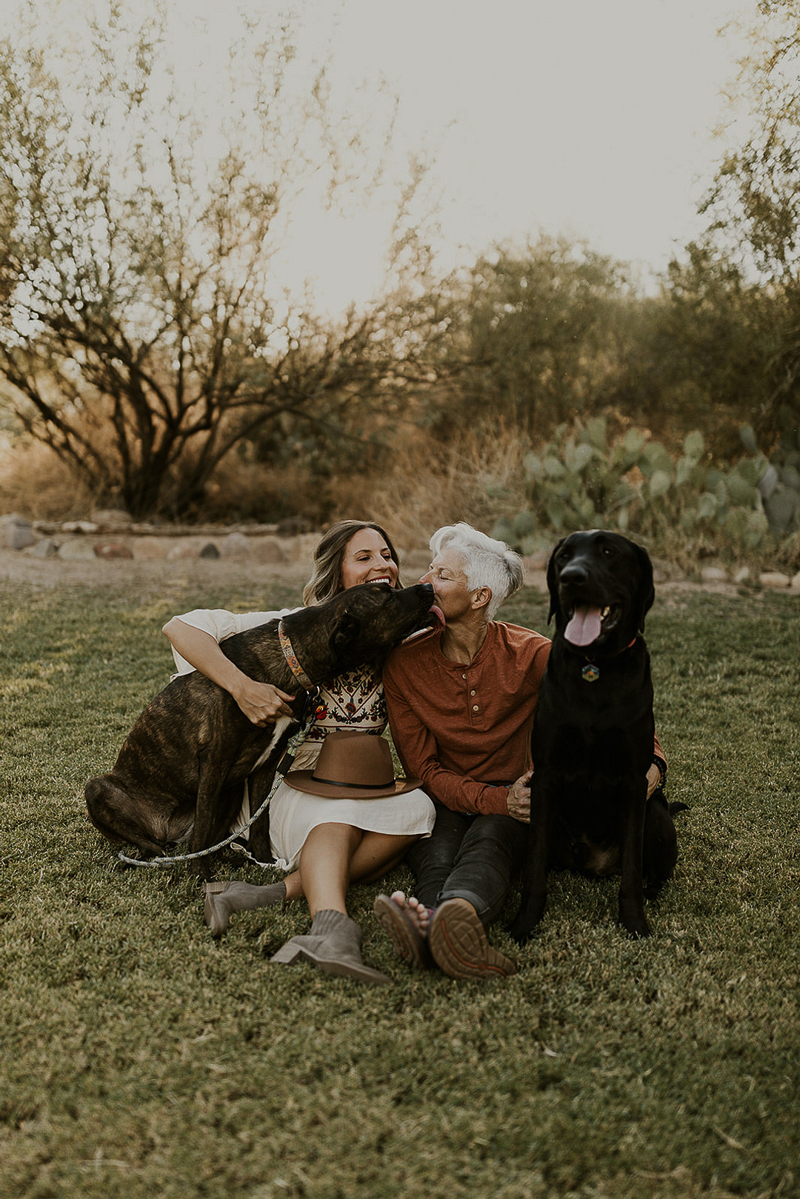 women and their dogs, dog-friendly engagement session, ©Kali M Photos | Arizona wedding and elopement photographer