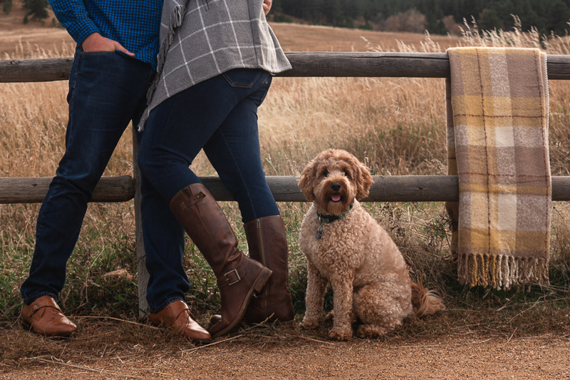 doodle and couple in front of split rail fence, plaid blanket draped over fence, dog-friendly engagement ideas | ©Nicole Andre Photography