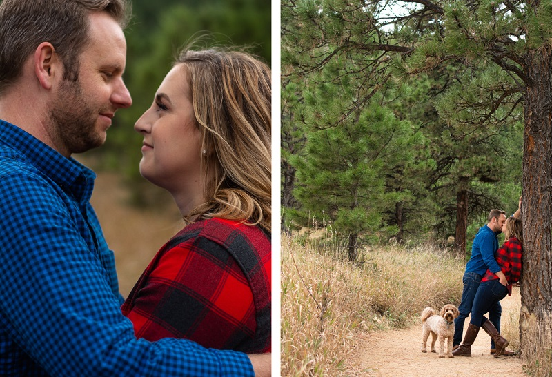 Fall engagement photo ideas, dog-friendly engagement session | ©Nicole Andre Photography