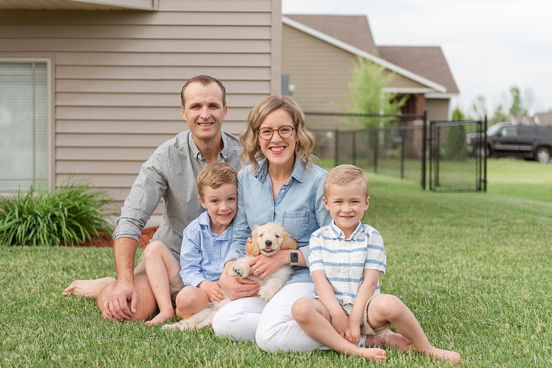 family portraits with a puppy, ©Samantha Rule Photography | dog-friendly family portraits, Central MN