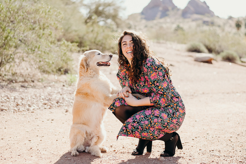 woman and her dog in the desert, Phoenix, AZ | ©Ali Tso Photography
