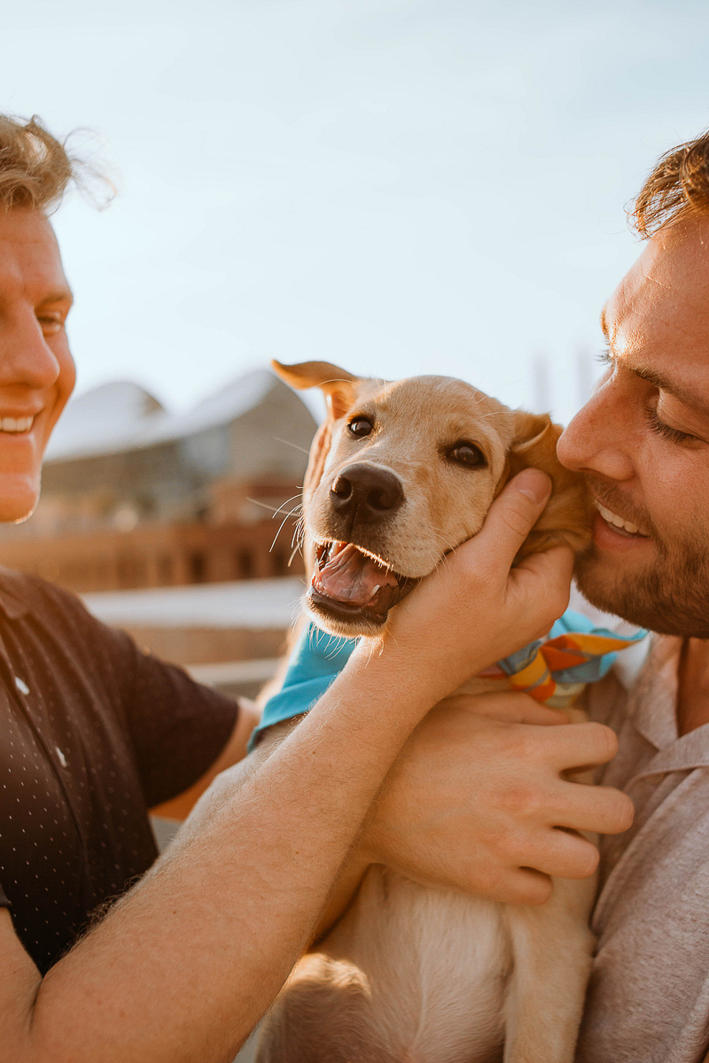 two men holding Yellow Lab puppy, sweet candid photo session of couple and their dog | ©Stevie Nicole Photography, Kansas City, MO