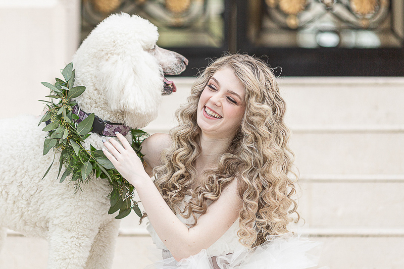 woman and dog sitting on steps, dog-friendly styled shoot ©C. Baron Photography