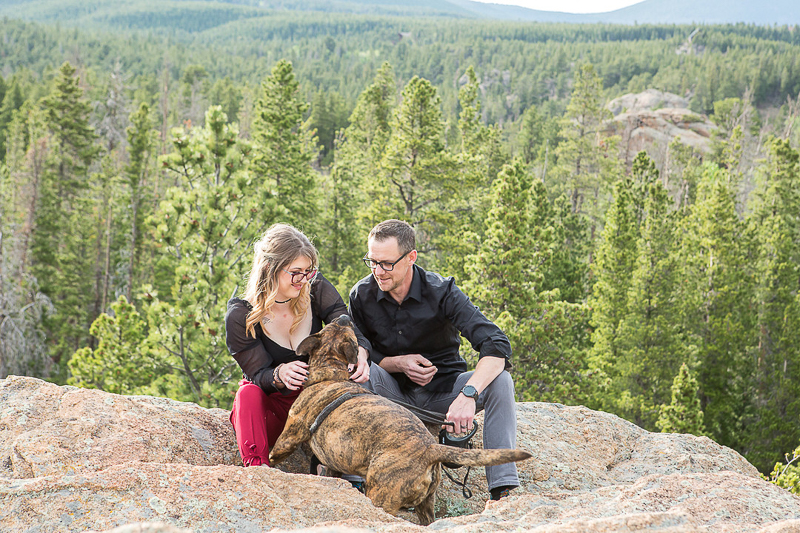 brindle dog and his favorite people, dog photography ideas, mountain photoshoot, Allenspark, © Nichole Emerson Photography   dog-friendly portrait session