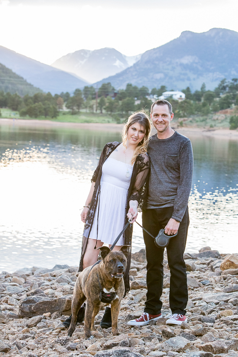 couple and their dog at lake, mountains in background   © Nichole Emerson Photography   Allenspark, Colorado