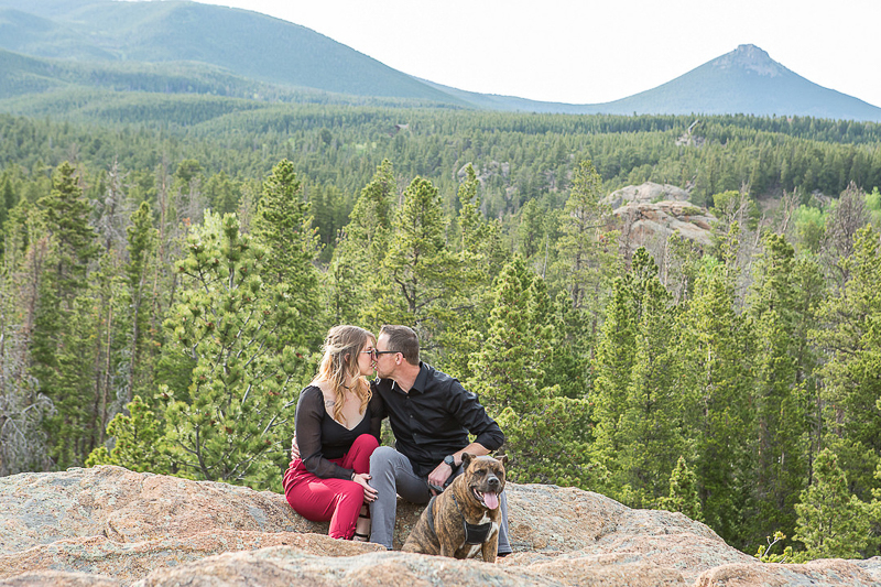 couple and their dog on outcrop, mountains in background© Nichole Emerson Photography | dog-friendly portrait session