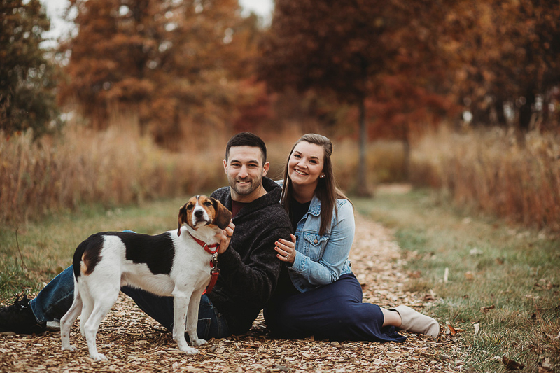 couple and their beagle, fall engagement ideas, ©Samantha Mitchell Photography, Lafayette, IN