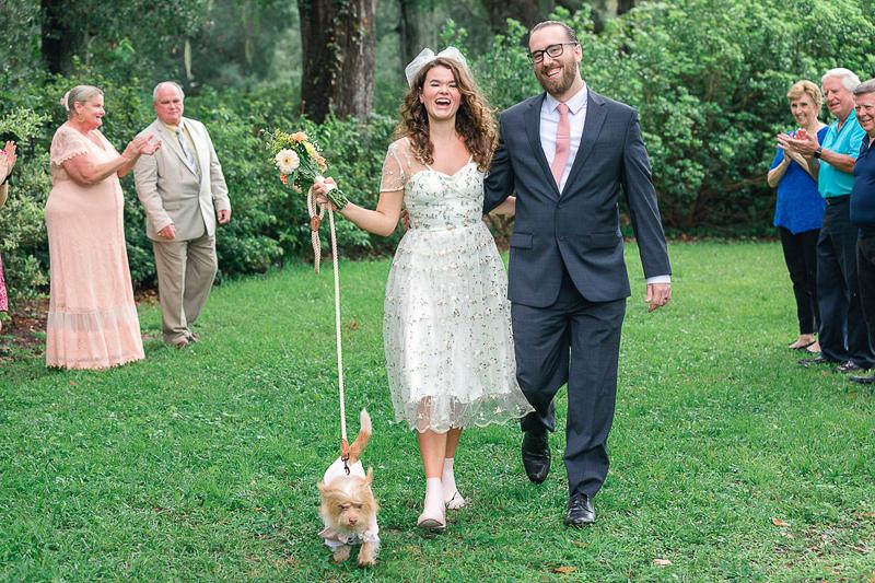 dog-friendly wedding, just married couple and their dog, ©Charleston Photo Art | Hampton Park, Charleston