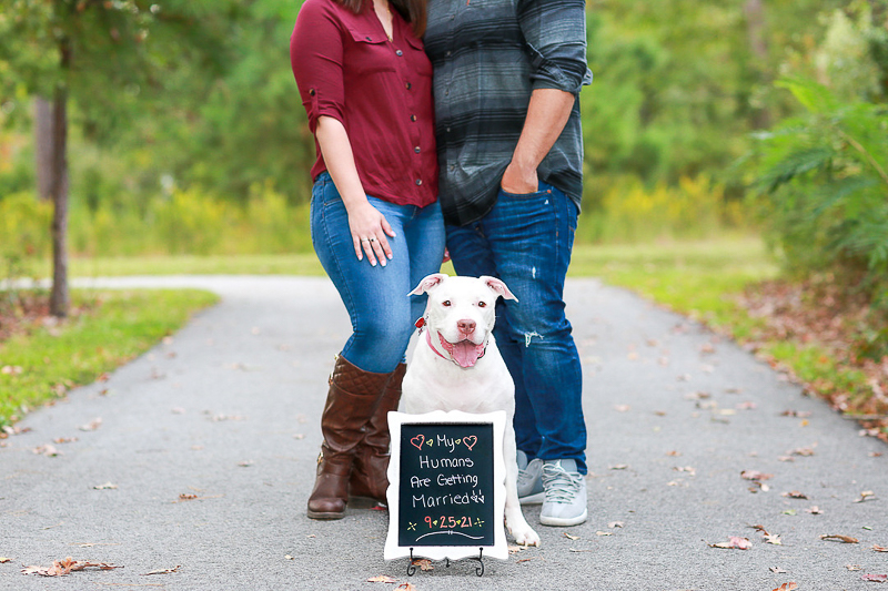 Save the Date sign with white dog, Virginia Beach engagement session | ©Fresh Look Photography