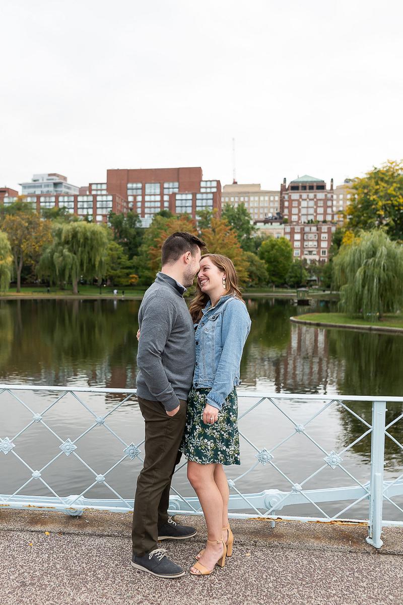 couple kissing on the bridge, ©Jess Sinatra Photography | Boston engagement and wedding photographer