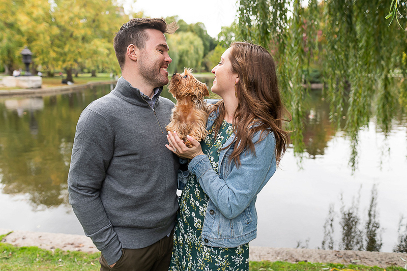Yorkie and couple in front of pond, ©Jess Sinatra Photography | Boston Wedding & Engagement Photographer