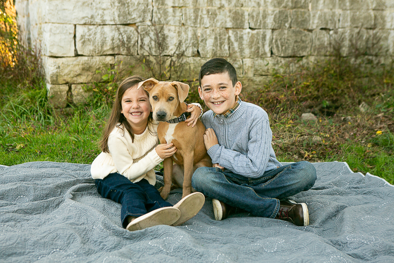 kids and their puppy, dog-friendly family photo ideas, ©Mandy Whitley Photography | Nashville Pet Photography