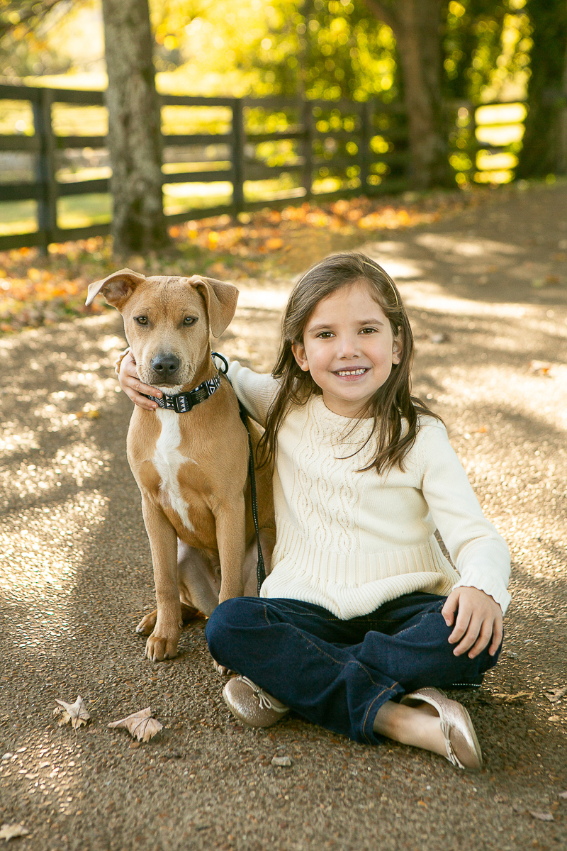 girl and her pup sitting on path, Marcella Vivrette Smith Park, in Brentwood, Tennessee ©Mandy Whitley Photography | Nashville Pet Photography